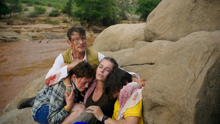 (L-R) Philip Winchester as Jack Halsey, Isabel Bassett as Zoe Halsey, Rebecca Romijn as Lauren Halsey, and Michael Johnston as Noah Halsey in the action thriller film, ENDANGERED SPECIES, a Lionsgate Release. Photo Courtesy of Lionsgate.