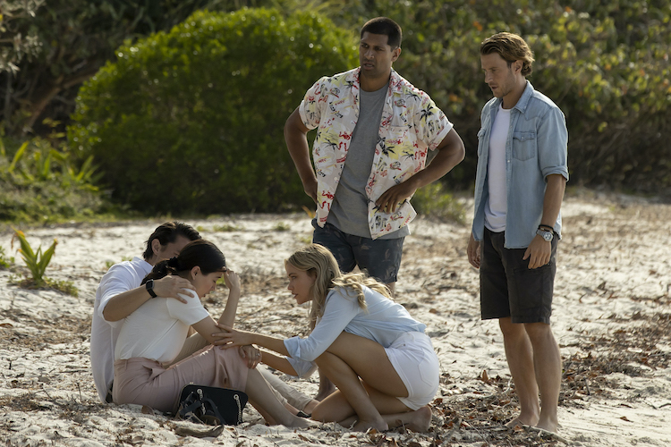(L-R) Tim Kano as Joji,   as Michelle, Katrina Bowden as Kaz, Te Kohe Tuhaka as Benny and Aaron Jakubenko as Charlie in the action-adventure/thriller, GREAT WHITE, an RLJE Films and Shudder release. Photo courtesy of RLJE Films and Shudder.