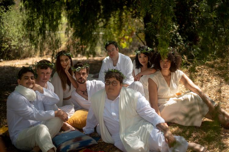 (L-R) Josh Fadem as Neptune, Johnny Pemberton as Desmond, Angela Sarafyan as Willow, Mathew Gray Gubler as Thorn, Andy Milonakis as Percival, Nelson Franklin as Angus, Emily Chang as Echo and Kate Comer as Rowena in the comedy KING KNIGHT, a King Knight LLC release. Photo courtesy of King Knight LLC.