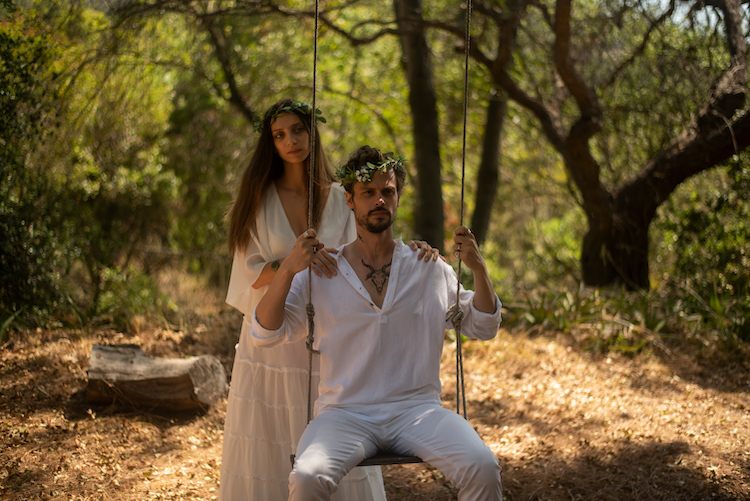 (L-R) Angela Sarafyan as Willow and Mathew Gray Gubler as Thorn in the comedy KING KNIGHT, a King Knight LLC release. Photo courtesy of King Knight LLC.