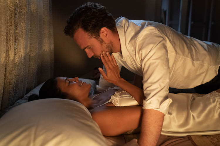 (B-T) Zahra Newman as Leanne and Rafe Spall as Teddy in the romantic comedy film, LONG STORY SHORT, a Saban Films release. Photo courtesy of Brook Rushton.