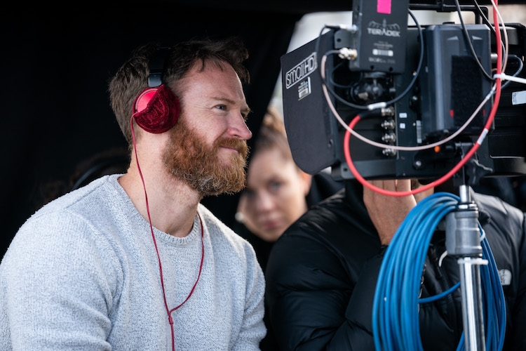 A behind the scenes still of director Josh Lawson from the romantic comedy film, LONG STORY SHORT, a Saban Films release. Photo courtesy of Brook Rushton.