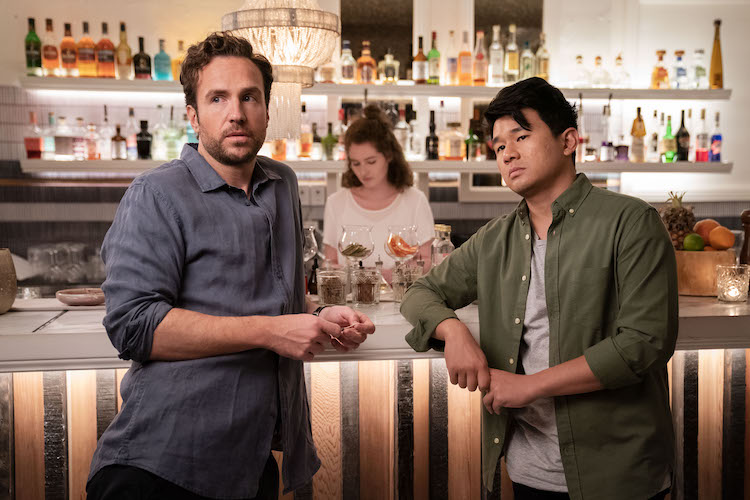 (L-R) Rafe Spall as Teddy and Ronny Chieng as Sam in the romantic comedy film, LONG STORY SHORT, a Saban Films release. Photo courtesy of Brook Rushton.