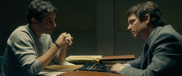 Luke Kirby as Ted Bundy and Elijah Wood as Bill Hagmaier in the drama/thriller, NO MAN OF GOD , an RLJE Films release. Photo courtesy of RLJE Films