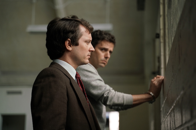 Elijah Wood as Bill Hagmaier and Luke Kirby as Ted Bundy in the drama/thriller, NO MAN OF GOD, an RLJE Films release. Photo courtesy of RLJE Films