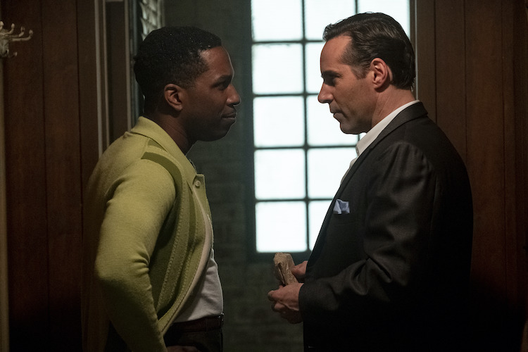 """(L-R) LESLIE ODOM, JR. as Harold McBrayer and ALESSANDRO NIVOLA as Dickie Moltisanti in New Line Cinema and Home Box Office's mob drama """"THE MANY SAINTS OF NEWARK,"""" a Warner Bros. Pictures release."""