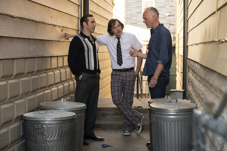 """(L-r) ALESSANDRO NIVOLA, MICHAEL GANDOLFINI and director ALAN TAYLOR on the set of New Line Cinema and Home Box Office's mob drama """"THE MANY SAINTS OF NEWARK,"""" a Warner Bros. Pictures release."""