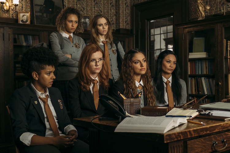 (T-B / L-R) Ella-Rae Smith as Helina, Suki Waterhouse as Camille, Djouliet Amara as Rosalind, Madisen Beaty as Bethany, Inanna Sarkis as Alice, and Stephanie Sy as Yvonne in the horror film, SEANCE, an RLJE Films and Shudder release. Photo courtesy of RLJE Films and Shudder