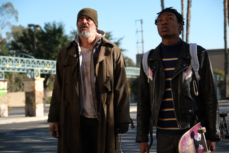 (L - R) Joe Manganiello as Max Fist and Skylan Brooks as Hamster in the action/thriller film, ARCHENEMY , a RLJE Films release. Photo Courtesy of RLJE Films