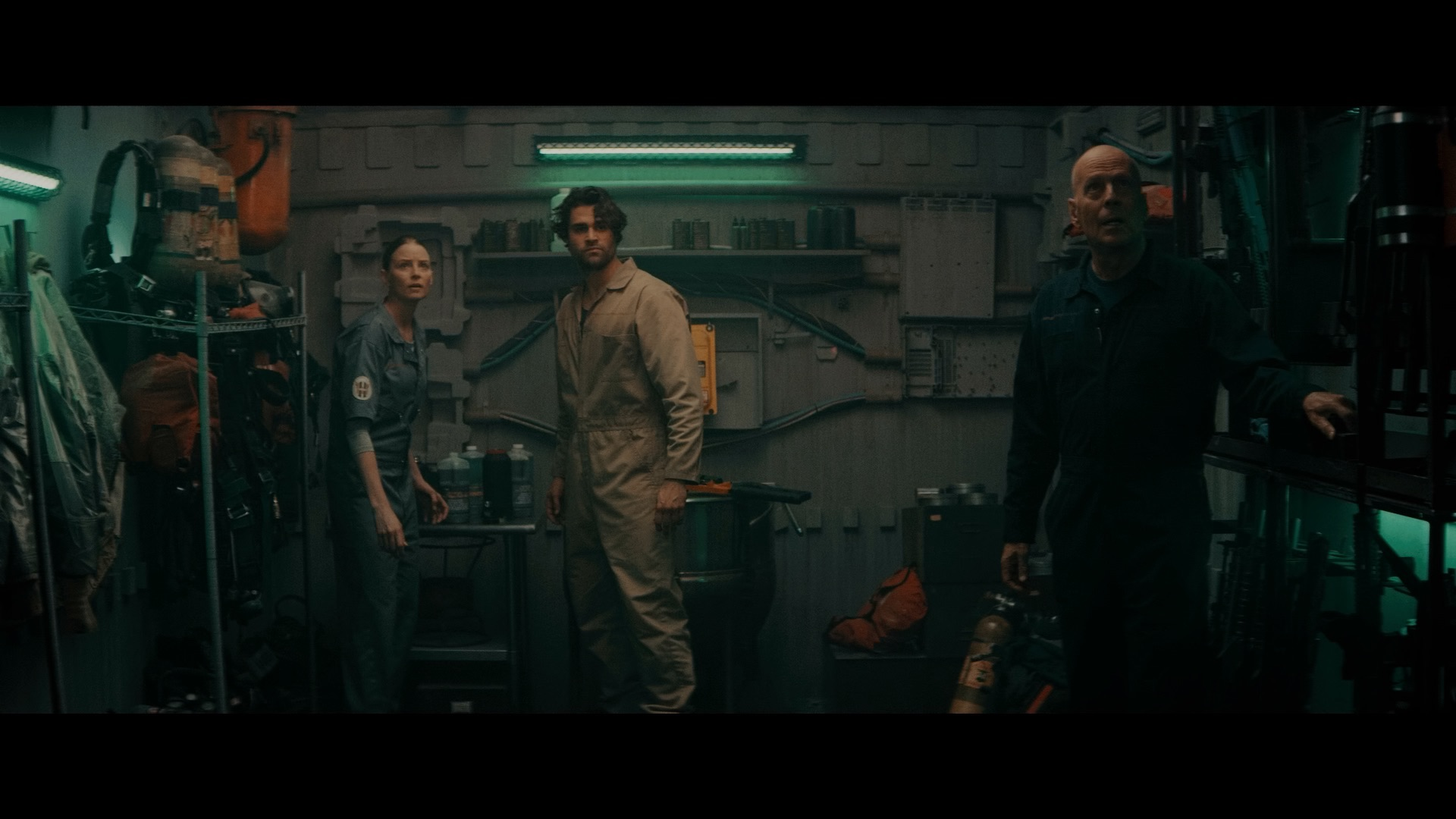 (L - R) Rachel Nichol s as Chambers, Cody Kearsley as Noah , and Bruce Willis as Clay Young in the sci - fi/action film , BREACH , a Saban Films release. Photo courtesy of Saban Films.