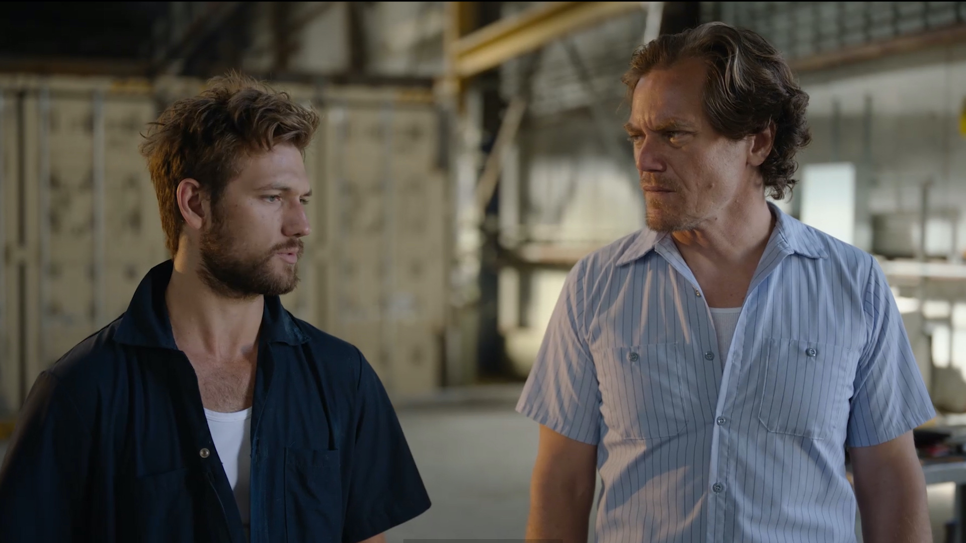 "(L - R) Alex Pettyfer as Ellis Beck and Michael Shannon as Mel Donnelly in the action/thriller film, "" ECHO BOOMERS ,"" a Saban Films release. Photo courtesy of Saban Films."