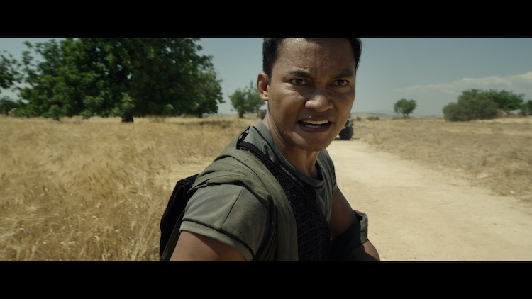 Tony Jaa as Kueng in the action/sci - fi film, JIU JITSU , a The Avenue release. Photo courtesy of The Avenue