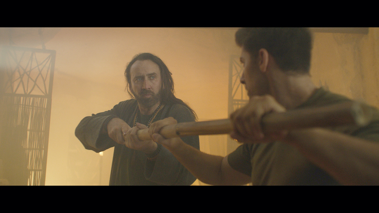 (L - R) Nicolas Cage as Wylie and Alain Moussi as Jake in the action/sci - fi film, JIU JITSU , a The Avenue release. Photo courtesy of The Avenue