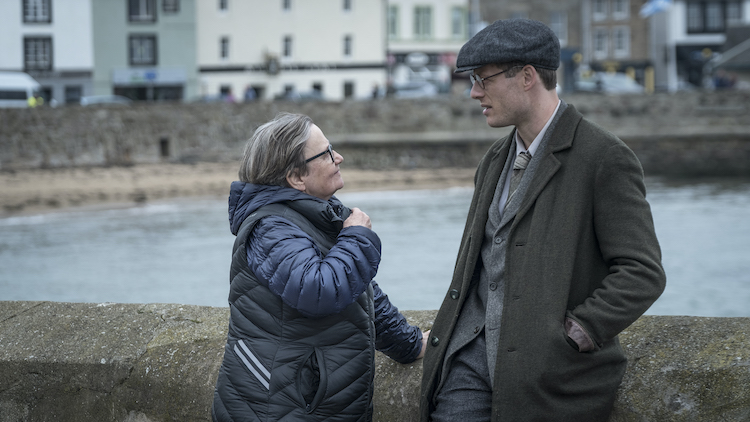 (L-R) A behind the scenes photo of Director Agnieszka Holland and James Norton as Gareth Jones in the drama / bio-pic / thriller MR. JONES, a Samuel Goldwyn Films release. Photo courtesy of Robert Palka.