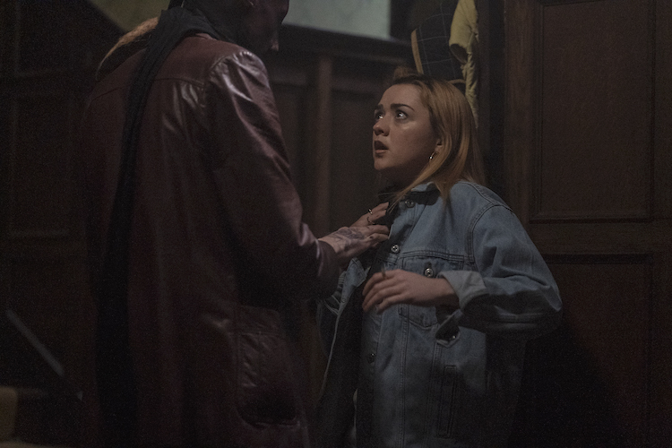 (L - R ) Jake Curran as Gaz and Maisie Williams as Mary in the thriller , THE OWNERS , a RLJE Films release. Photo courtesy of RLJE Films