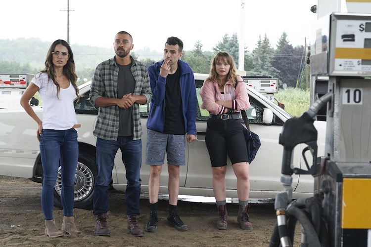 (L-R) Jordana Brewster, Jesse Williams, Jay Baruchel, and Niamh Wilson in RANDOM ACTS OF VIOLENCE